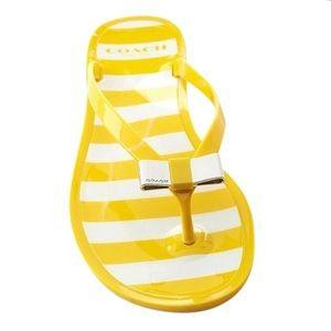 COACH Landon Yellow/ White Jelly Flip Flop Thong